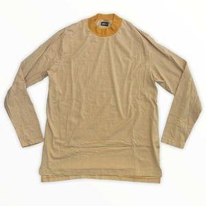 Publish Yellow Mock Neck Striped T Shirt Size XL